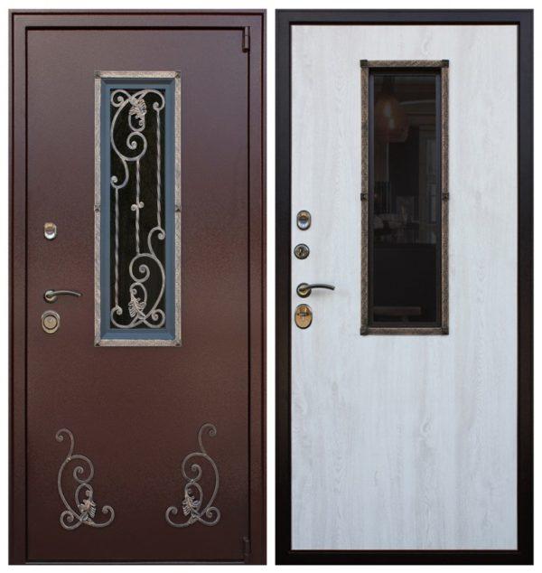 Входная дверь с ковкой и стеклом СП402