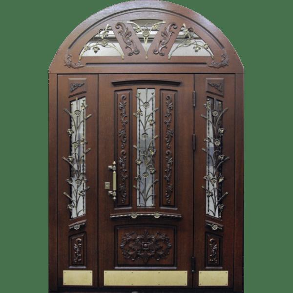 Арочная входная дверь массив с ковкой и стеклом СП424