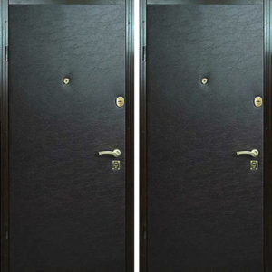 Входная металлическая дверь черная винилискожа СП286