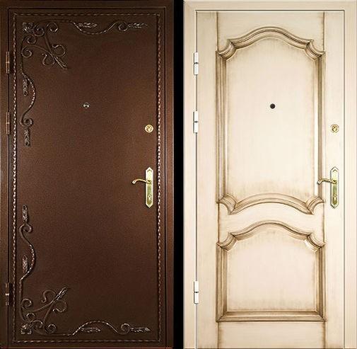 Входная металлическая дверь порошок декор и МДФ СП063